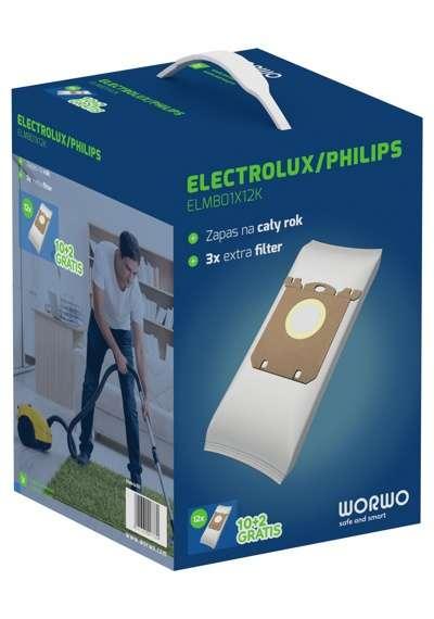 elmb 2 - ELMB 01 X12K Комплект пылесборников (12 шт; Electrolux, Philips WOR-BAG)