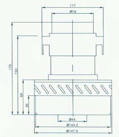 30 pylesosnyj dvigatel YDC 23 1200W moyuschij H176mm sxema 20180625130647 1 - Двигатель для пылесоса YDC 23, 1200W (моющий)