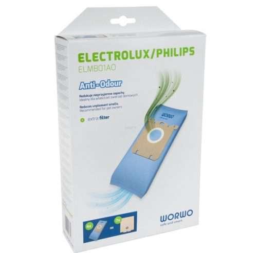 elmb01AO 1 500x494 - ELMB 01 AO Комплект пылесборников противозапаховые 4шт+фильтр; для Electrolux,Philips WOR-BAG